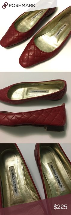 Manolo Blahnik • Vintage red quilted leather flats Manolo Blahnik vintage red quilted leather ballet flats. Size 36 or US 6. (See measuring tape.) Original bottoms. Excellent vintage condition!! Leather is near perfect. Inside sole will be cleaned again before shipping. Manolo Blahnik Shoes Flats & Loafers