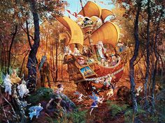 """Flight of the Fablemaker"" by James Christensen. Such detail and creativity! I own this one."
