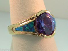 Amethyst and Opal Ring Sterling Silver NEW   $40 and Free Shipping too!