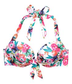 Floral bikini top with decorative ties, pleats, and padded underwire cups. | H&M Swim