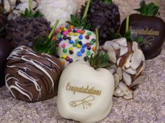 graduation chocolate covered strawberries from ccberries.com, you select the chocolate types, delivered by air nationwide to preserve freshness