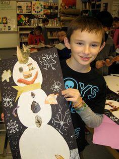 Jamestown Elementary Art Blog: Surreal Snowmen Collages