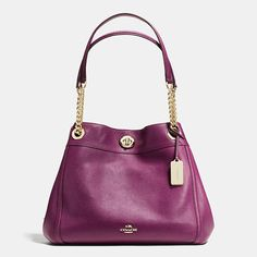 Effortless, top-selling Edie gets a luxe update in plump Italian pebble leather with the flash of a polished turnlock and dressy chain handles. This ultra-functional design keeps essentials elegantly organized within its three-compartment interior.