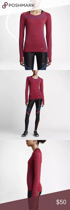 Nike Women's Dri-Fit Knit Longsleeve Active Tshirt INCREDIBLE COMFORT  The Nike Dri-FIT Knit Women's Running Top is made with a nearly seamless construction and mesh ventilation for lightweight, breathable comfort over any distance.  BENEFITS  Dri-FIT fabric helps keep you dry and comfortable  Nearly seamless construction for enhanced comfort  Knit-in mesh fabric for breathability  Stretch fabric and ergonomic seams let you run naturally  Thumbholes help the top stay in place as you run…