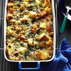 Pesto Chicken Strata Recipe -I like this rustic strata for its hearty flavor. It's also nice to have something savory along with sweeter brunch dishes like cinnamon rolls and doughnuts. —Michael Cohen, Los Angeles, California