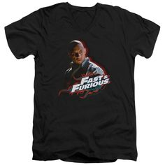 Fast And Furious Toretto Adult V-Neck Short Sleeve S/S T-Shirt - Black