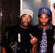 "Tupac Shakur, Eric ""Eazy E"" Wright, Hip-Hop icons Mode Hip Hop, Hip Hop And R&b, 90s Hip Hop, Hip Hop Rap, Hip Hop Images, Tupac Makaveli, Tupac Shakur, Hip Hop Artists, Thug Life"