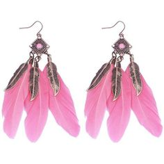 Pink Alloy Geometric Leaf Feather Drop Earrings (7.26 PEN) ❤ liked on Polyvore featuring jewelry, earrings, feather jewelry, feather drop earrings, drop earrings, pink earrings and pink drop earrings