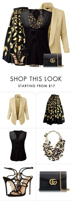"""""""Black & Gold outfit"""" by kamkami ❤ liked on Polyvore featuring LE3NO, Ashley Pittman, Dsquared2 and Gucci"""