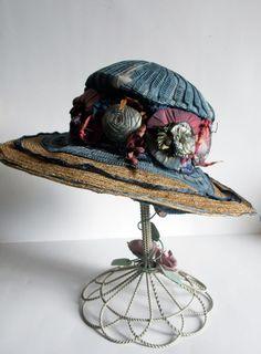 Antique Edwardian Straw Hat Ribbonwork Millinery Flower Ribbon Schwalbe NY label
