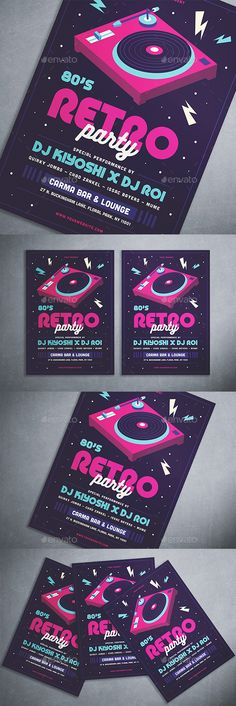 80's Retro Party Flyer Template PSD, AI Illustrator