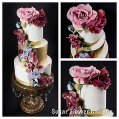 #Metallic#Gold#Floral#Wedding#Cake