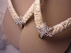 Ivory Bridal flip flops Decorated Nude/Tan by AdrianaDosSantos, $36.00