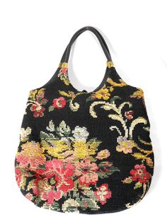 1980s Floral Tapestry Bag / Carpet Bag