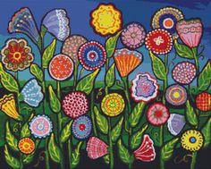 Modern Art Cross Stitch Kit By Renie Britenbucher 'Funky Flowers'