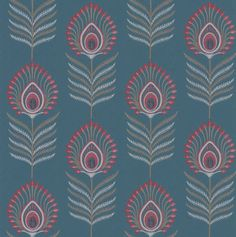 Sula Teal / Pink wallpaper by Jane Churchill