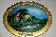 VINTAGE REVERSE PAINTING WITH MOTHER OF PEARL ON BUBBLE GLASS Art Techniques, Worlds Largest, Decorative Plates, Bubbles, Miniatures, Paintings, Pearls, Landscape, Antiques