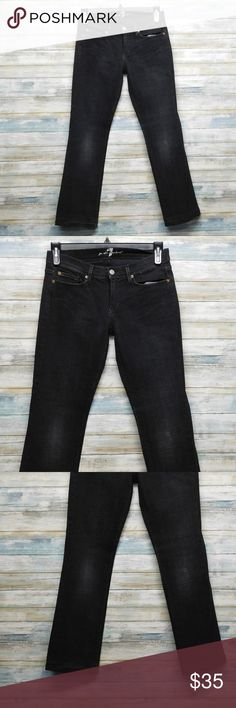 """7 For All Mankind Boot cut Stretch Jeans 28x30 Women's 7 For All Mankind Boot cut Stretch Jeans 28 x 30 color: black some fade size 28 x 30"""" inseam    actual waist measures 31"""" hemmed to 30"""" inseam Rise 8 """"        Leg opening laying flat 8.5"""" 98% cotton 2% polyurethane IN VERY GOOD CONDITION 7 For All Mankind Jeans Boot Cut"""