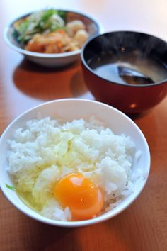 Photo: Fresh Raw Egg on Rice, Typical Japanese Breakfast Meal | Tamago Kake Gohan (a.k.a TKG) 卵かけご飯