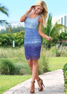 Ombre crochet dress, peep toe heel in the VENUS Line of Dresses for Women