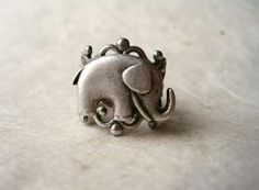 Elephant Ring Adjustable Antique Silver by PiggleAndPop... I am going to get an elephant ring someday
