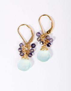 Summer Jewelry, Cluster Earrings, Mint Gemstone Earrings, Gold Cluster Earrings, Fine Jewelry, Artisan Jewelry, Beach Jewelry, Pink Earrings by SarahCornwellJewelry on Etsy https://www.etsy.com/listing/269994134/summer-jewelry-cluster-earrings-mint