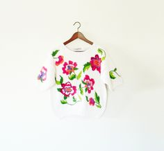 Floral 80s sweater Chunky knit