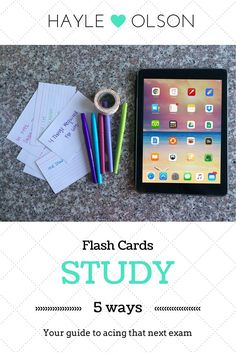 5 Ways to Study Flash Cards | Hayle Olson | These study tips for college students will help you prepare for tests better, which means better grades in school!