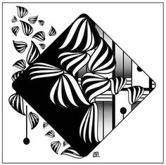 Zentangle Miniature Abstract Art • B&W OOAK Digitally Drawn By Hand • Jean Moore #Miniature