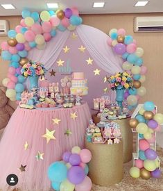 first birthday party theme Princess Birthday Party Decorations, 1st Birthday Party For Girls, Unicorn Themed Birthday Party, Girl Baby Shower Decorations, Baby Birthday, Decoration Party, Birthday Cake, Pastell Party, Deco Baby Shower