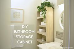 Love how this DIY over the toilet storage cabinet is easy to build with just a drill and a few hand tools - perfect for small bathrooms and is very budget friendly! #smallbathroomideas #smallbathroomstorage