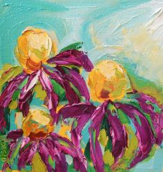 Oil Painting 8x8 Purple Magenta Coneflowrs Impasto on Canvas. $50.00, via Etsy.
