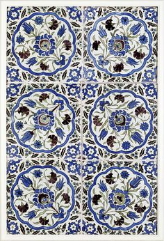 Panel of six tiles with floral medallions in green, blue and purple, Damascus (Syria), Islamic Patterns, Textile Patterns, Print Patterns, Turkish Art, Turkish Tiles, Islamic Tiles, Islamic Art, Motifs Islamiques, Art Nouveau