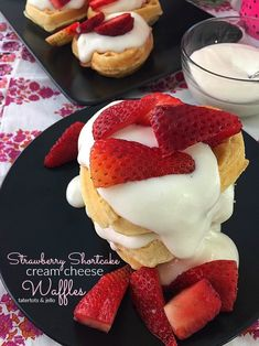Make these for brunch or as a dessert. Your family will love the fluffy waffles covered with a light sweet cream cheese topping and strawberries! Strawberry Shortcake Dessert, Fluffy Waffles, Cheese Waffles, Cream Cheese Topping, Souffle Dish, Cheesecake Toppings, Breakfast Dishes, Breakfast Recipes, Breakfast Time