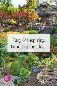 These easy landscape ideas will amp up your curb appeal in no time. We help break down the different elements of planning your front yard or backyard landscaping. Check out our tips for designing a landscape that suits your needs. #gardening #curbappeal #landscaping #landscapeideas