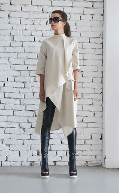 OFF Beige Asymmetric Shirt/Extravagant Oversize Tunic/Half Sleeve Casual Top/Short Maxi Dress/Cream Loose Shirt Dress : Beige Asymmetric Shirt/Extravagant Oversize by Metamorphoza Beige Maxi Dresses, Trendy Dresses, Casual Dress Outfits, Mode Outfits, Summer Outfits, Girly Outfits, Stylish Outfits, Top Oversize, Outfit Des Tages