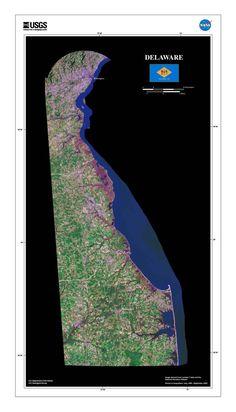 Delaware Satellite Poster Map