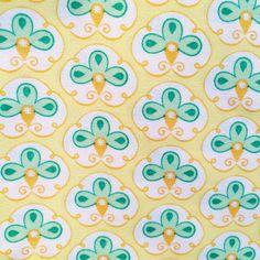 1/2 meter of flowers yellow vintage fabric designer by EvaFabrics