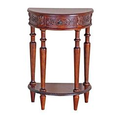 Bowery Hill Half Moon Console Table In Dual Walnut Stain Review Entryway Furniture Accent