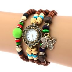Butterfly Pendant Stretch Bracelet Beaded Vintage Watches