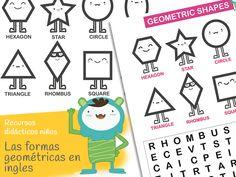 Formas geométricas en inglés. Free printable geometric shapes