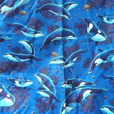 VIP Cranston Orca Killer Whale Dolphin Sea Turtle Ocean Fabric 59 x 44 Cotton  #VIPCranston