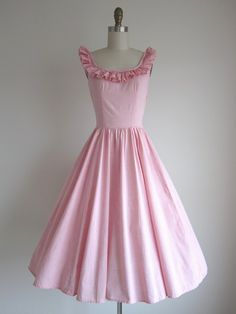 1950s Pink Cotton Gingham Day Dress