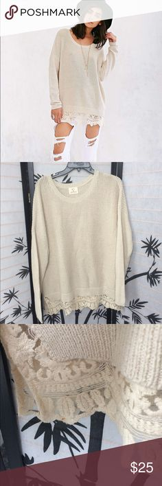 """Urban Outfitters Knit Lace Bottom Sweater Has some stains as pictured. No snags. 30"""" length. 23"""" pit to pit. Will accept a reasonable offer. Urban Outfitters Sweaters Crew & Scoop Necks"""