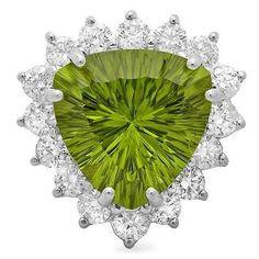 $12400 CERTIFIED 14K WHITE GOLD 9.50CT PERIDOT 1.80CT DIAMOND RING