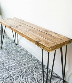 Sustainable Rustic wooden Bench with harpin legs, Farmhouse Style decor, Modern Bedroom home furnishings, Entryway benches, Seating - Details Dimensions 10 inches x 36 Made from Oak & Steel harpin legs. Handmade Item Made in Rhode Is - Diy Coffee Table, Diy Table, Hairpin Leg Coffee Table, Dining Table, Farmhouse Style Decorating, Farmhouse Decor, Farmhouse Furniture, Rustic Wooden Bench, Teak Wood