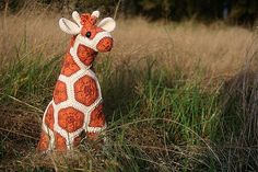 Crochet African Flower Giraffe in Orange and Red by Woolbunnies