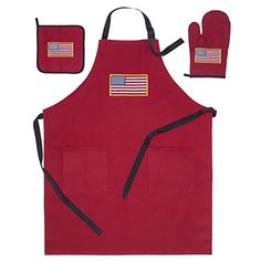 American Flag USA Apron 2 Pockets Oven Mitt Hot Pad Set (Bundle of 3 items)