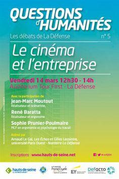 """DÉBAT - """"Le cinéma et l'entreprise"""", c'est le thème du cinquième rendez-vous, vendredi 14 mars, du cycle de conférences proposé par le Conseil général,en partenariat avec l'université Paris-Ouest-Nanterre-La Défense et Defacto, l'établissement public de gestion du quartier d'affaires de La Défense."""