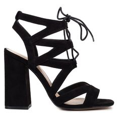 Black multistrap sandal with laces ❤ liked on Polyvore featuring shoes, sandals, kohl shoes, multi-strap sandals, black block heel shoes, block heel sandals and black suede shoes